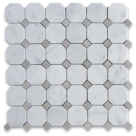 octagon marble floor tile carrara marble octagon mosaic tile gray dots 2 inch honed traditional wall and floor tile