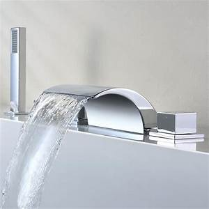 Robinet Cascade Baignoire : kinse contemporain robinet de baignoire cascade avec pommeau de douche tirable mitigeur de ~ Nature-et-papiers.com Idées de Décoration