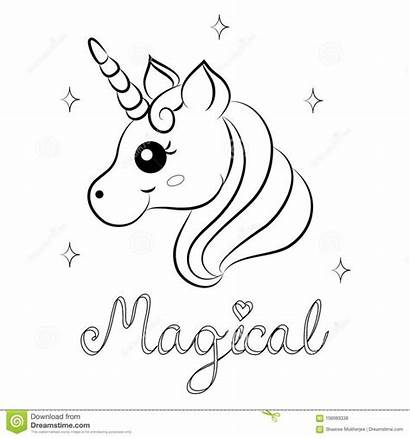 Unicorn Coloring Cartoon Pages Vector Word Magical