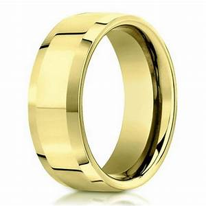 6mm 18k Yellow Gold Beveled Edge Designer Men39s Wedding