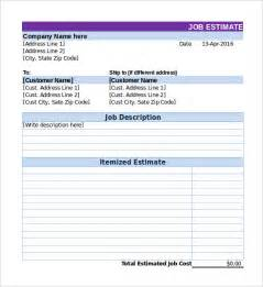 Free Job Estimate Template Excel