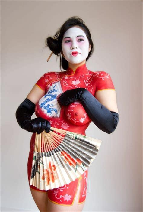 chinese red dress body painting elizaveta  elizavetaart photo beautylish
