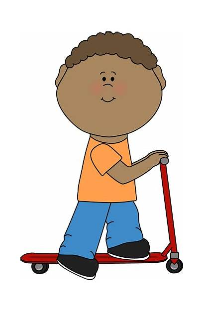 Clip Kid Clipart Scooter Riding Quietly Graphics