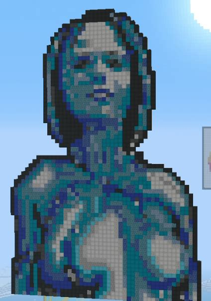 Cortana From Halo Minecraft Pixel Art Design Made By