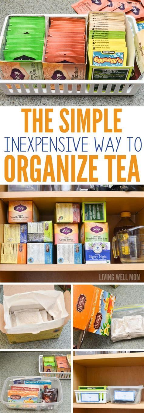 sort  tea bags   cupboard