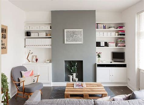 alcove fireplace desk cupboards grey painted wood google