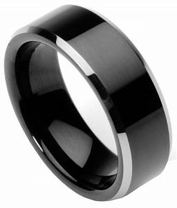 mens tungsten ring wedding band flat top two toned With flat top mens wedding rings