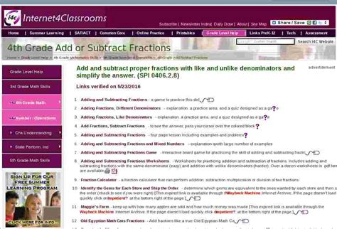 add  subtract fractions fourth  grade math standards