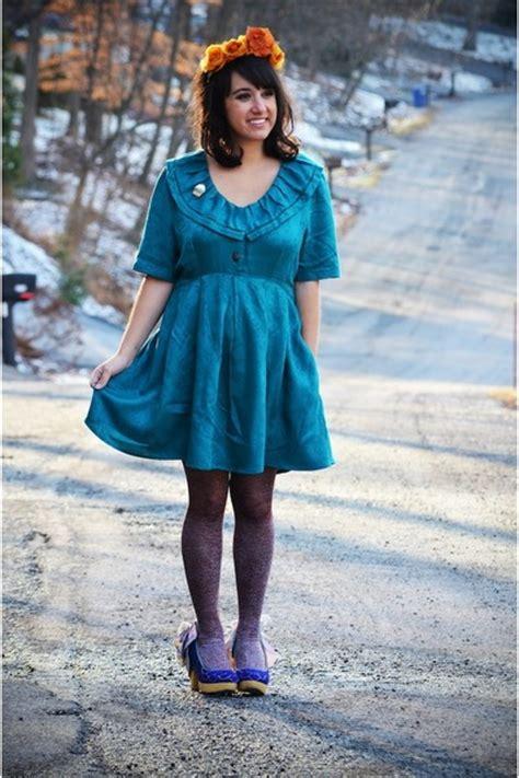 Teal Babydoll Vintage Dresses Blue Irregular Choice Shoes ...