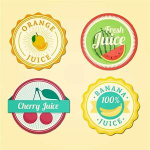 Fruit juices rounded labels Vector | Free Download