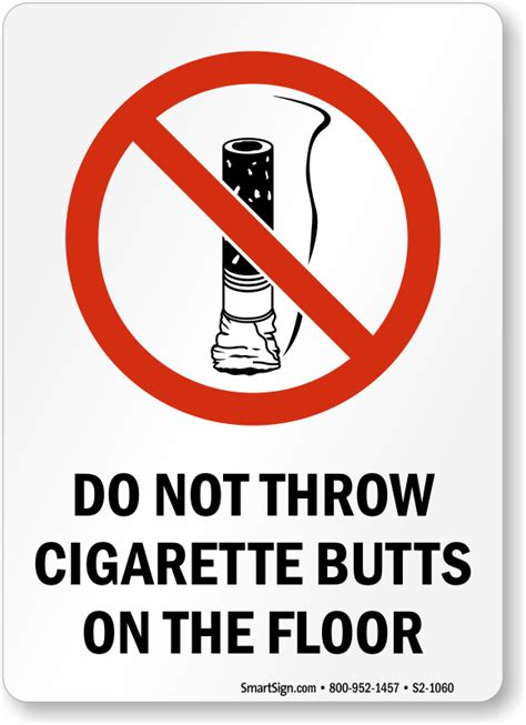 throw cigarette  floor sign sku