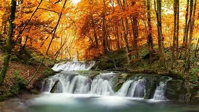 8k Nature Waterfall Forest Scene Autumn Murals