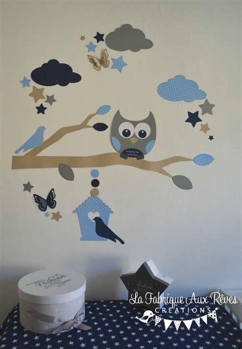 sticker chambre bébé stickers hibou chouette branche nuage étoiles nichoir bleu