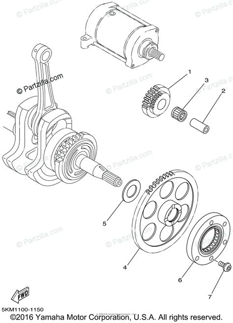 yamaha atv  oem parts diagram  starter clutch