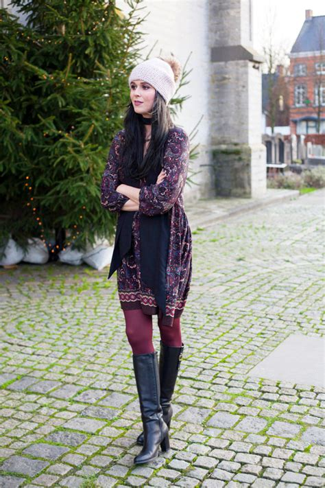 outfit  paisley dress  knee high boots