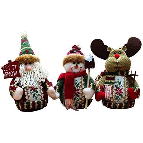 wehops 3pcs christmas decor dolls santa claus snowman