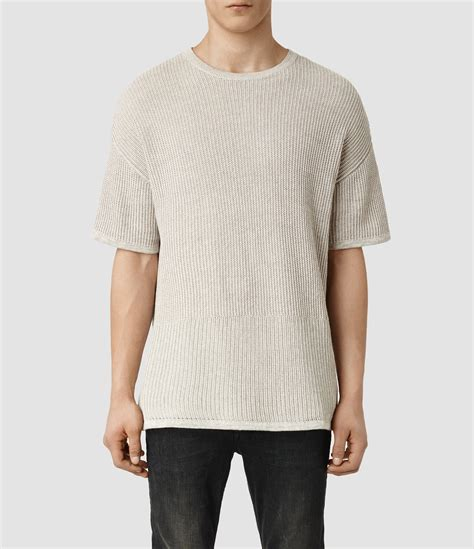 sweater shorts lyst allsaints metz sleeved crew sweater in brown