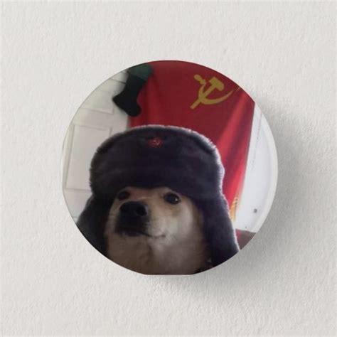 Comrade Doge The Communist Doggo Pupper Pinback Button