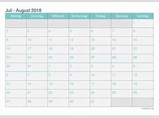 Kalender Juli August 2018 zum Ausdrucken iKalenderorg