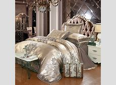 Gold silver coffee jacquard luxury bedding set queenking