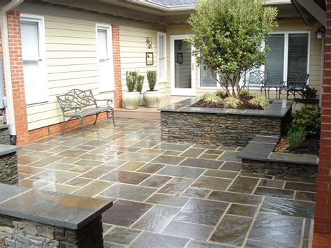 after bluestone patio and seat wall