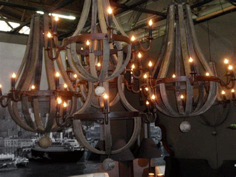 reclaimed wood wine barrel chandeliers home decor