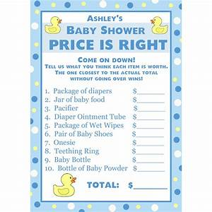 24 personalized baby shower price is right game cards blue With free printable price is right baby shower game template