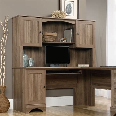 sauder harbor view computer desk with hutch salt oak corner computer desk with hutch sauder 417586 harbor view