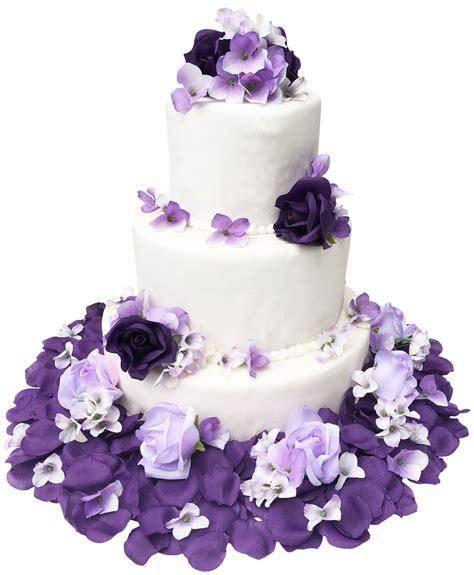 purple lavender rose hydrangea rose flower cake toppers