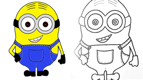 draw and color minion how to draw and color a minion step by step