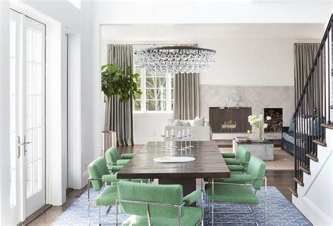 Green Dining Chairs with Blue Trellis Rug Transitional
