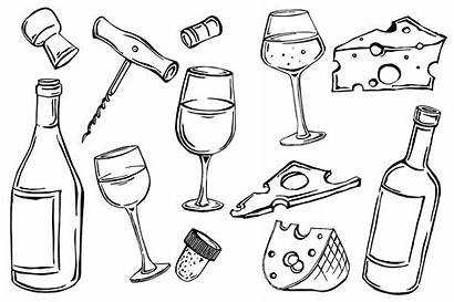 Wine Bottle Vector Illustration Glass Drawing Alcohol