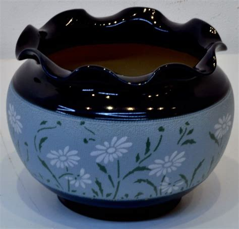 langley ware blue glazed pottery jardiniere