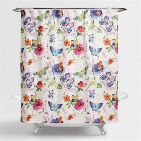 flower shower curtain butterfly watercolor floral shower curtain world market