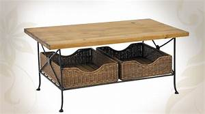 table basse bois massif fer forge avec paniers en rotin With table basse bois fer forge