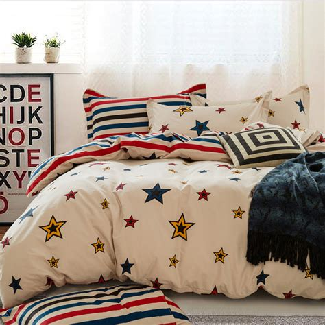 striped white blue and red bedding set with five stars printing ik 0011 5pc cotton duvet cover