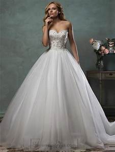 strapless scallop sweetheart beaded bodice ball gown With wedding dress with beaded bodice