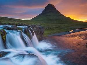 Wallpaper, Hd, Kirkjufell, Iceland, Waterfall, River, Mountain