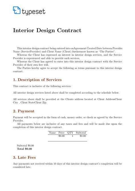 contracts interior design contract template template