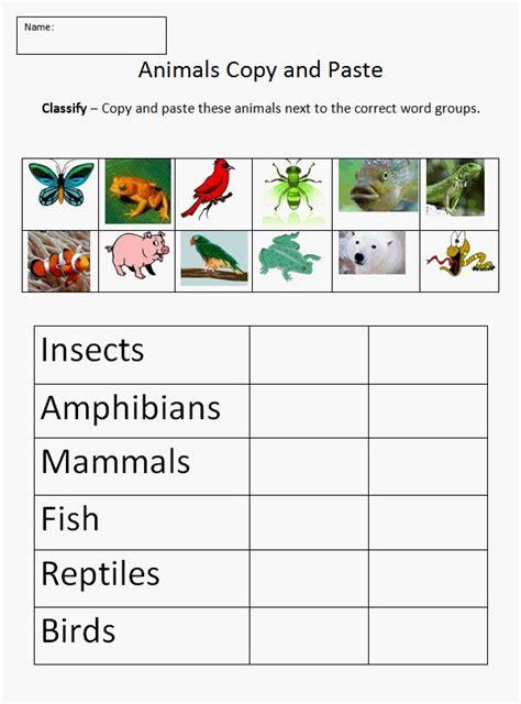 animal classification worksheet science