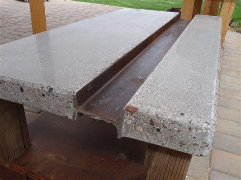 polished concrete coffee table  steel  beam