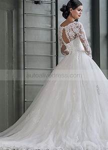 ball gown illusion neck long sleeves corset back ivory With corset back wedding dresses