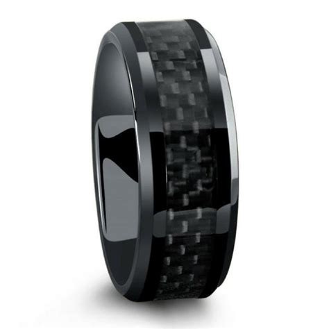 black mens wedding rings all black titanium ring mens wedding band with carbon 1859