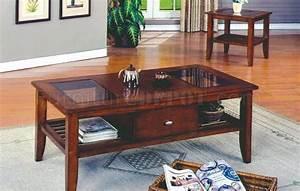 Brown cherry finish modern 3 pc coffee table set w drawer for Modern cherry coffee table