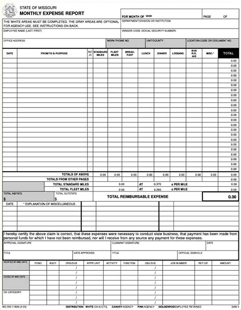 expense summary generic expense report spreadsheet templates for business Monthly