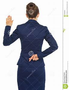 Business Woman Holding Crossed Fingers Behind Back Stock ...