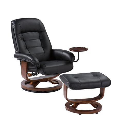 leather chair with ottoman home decorators collection black leather reclining chair