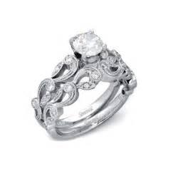 vintage wedding ring sets 33ct simon g antique style 18k white gold engagement ring setting and wedding band set