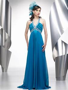 deep v neck ice blue floor length beaded empire style With wedding party dress