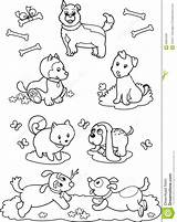 Coloring Cute Dogs Pages Cartoon Royalty Different Children Illustration Animal Printable Seven Getcolorings Sitting sketch template